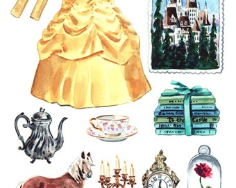 Beauty and the Beast Art Belle Costume Disney Princess Art Disney Painting Beauty and the Beast Painting Disney Princess Watercolor Canvas