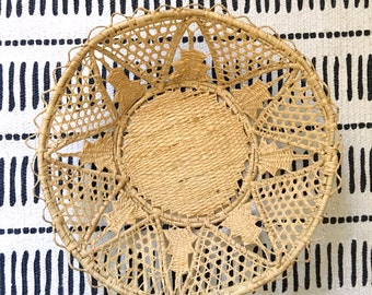 Vintage Japanese Round Woven Starburst Basket