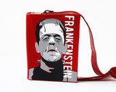 SALE Frankenstein Leather Book Bag Red and Beige Small Book Purse