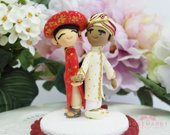 Custom Birthday Cake Topper - Vietnam Traditional Wedding