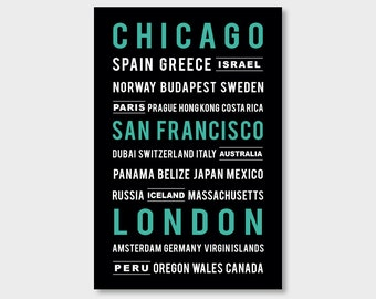 Custom Subway Art Print Travel Poster Street Names Favorite Cities Travel Places