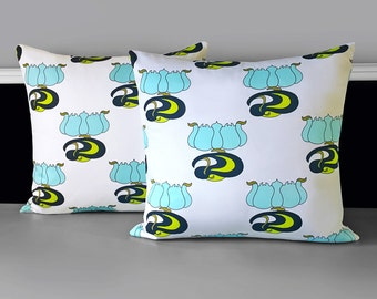 """Pair of Pillow Covers - White Blue Lime Tulip, 18"""" x 18"""", Ready to Ship"""