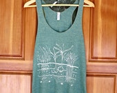 Women's Veggie Garden Tank - S M L - Racor Back - Hand Screen Printed On American Apparel