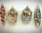 Vintage Jewel Brite Christmas Ornaments Teardrop Icicle Tinsel Filled Angel Diorama Lantern  1950s Retro Mod Set of 4 Mod