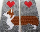 Corgi Scarf.  Gray knit and crochet scarf with Welsh corgi dogs.  Scarves with Pembroke welsh corgis and red hearts.