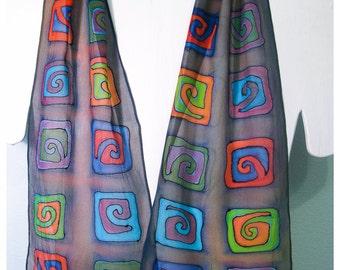 """Spiral silk scarf. Handpainted silk scarf. Multicolor Silk Scarf. 8""""x52"""" chiffon silk. Hand-painted silk scarves. Painted silk scarves"""