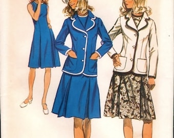 Classic Uncut Vintage 1970s Simplicity 9866 Inverted Pleat A Line Dress and Braid Trimmed Blazer Jacket Sewing Pattern B36