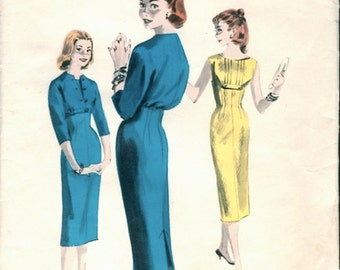 Darling Vintage 1950s Butterick 8066 Empire Slim Sheath Dress and Short Spencer Jacket Sewing Pattern B31.5