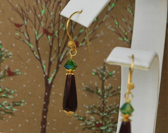 Lovely vermeil earrings, read and green earrings, czech glass and swarovski crystal, SRAJD