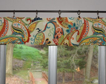 """Kitchen Valance . Mini Valance  8""""x 52"""" . Covington Paisley Whimsy . Multicolor . Use Ring Clips or Slide on Curtain Rod"""