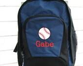 Baseball backpack, personalized baseball backpack,  boys baseball backpack, monogram big backpack