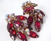 Vintage Rhinestone Earrings, Garnet Ruby Red, Juliana Style, 1950s Jewelry