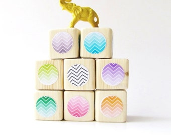 Cool Baby gift. Wood Blocks. Childrens Toy.  Valentines gift for kids. Baby Shower gift. Nursery Decoration. Modern. Trendy. Ombre/Chevron