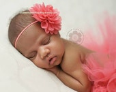 READY TO SHIP Baby Headband Chiffon Flower Headband Newborn Photo Prop Available in Tons of Colors