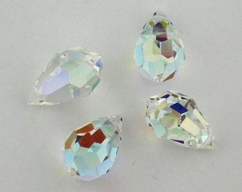 MC Preciosa Crystal AB Drop Briolette Pendant Bead 12x20mm 2 pieces Rainbow