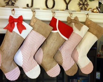 Christmas Stockings with Burlap and Red Ticking Accents / Set of Four (4) / Personalized Custom Stockings