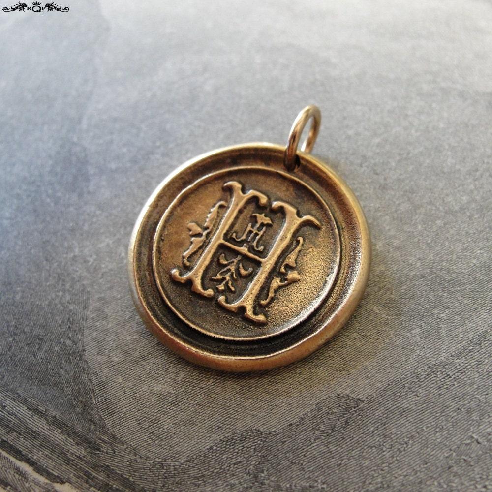 wax seal charm initial h wax seal jewelry pendant alphabet
