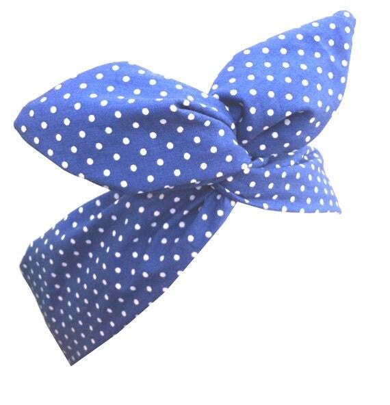Blue Nautical Sailor girl Polka Dot Pin Dot Hair Wrap - Wire Headband
