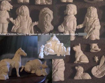 Indian Children, Nativity, Southwestern, Christmas decoration, Native, American Indian, Holy Night, Ready to paint,Ceramic Bisque,u-paint