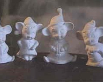 4 Charming,Christmas Mice, Christmas Mouse, Elf mice, Santa Helpers, Christmas decoration, Ready to paint,u-paint, Ceramic bisque