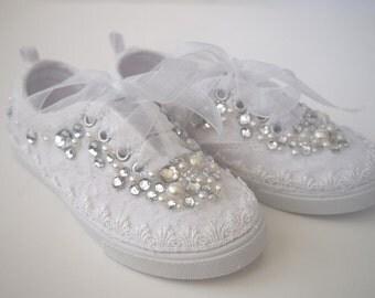 Girls Wedding Shoes - Miniature Bride - flower girl- chic white lace organza- Rhinestone Pearls - eyelet trim - sneakers tennis childrens