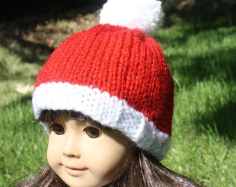 "American Girl Santa Hat - 18"" Knit Doll Hat - Ready to Ship!"