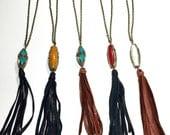 Leather Tassel Necklace, Tassel Necklace, Coachella Jewelry, Boho Necklace, Boho Tassel Necklace
