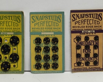 Sewing snap studs vintage black 3 sizes