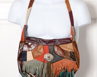 Vintage 80s 90s Colored Leather Southwestern Style Purse