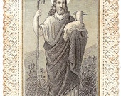 "Jesus Christ & Lamb Engraving ""He Seeks the Lost Sheep"" Antique French Paper Lace Holy Prayer Card, Catholic from Vintage Paper Attic"