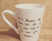 Loved ones Handwriting coffee mug, lost loved ones handwriting gift, memorial gift, remembering a loved one, personalized coffee cup