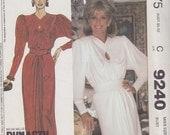 1984 Dynasty Demure Greek Goddess Gown Vintage Pattern, McCalls 9240, Linda Evans, Nolan Miller Keyhole Neckline, Draped Long Sleeve Evening