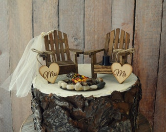 Country Adirondack Chair Wedding Cake Topper Camping Fishing Lake Themed Tent Hunting Groom Campfire Bride