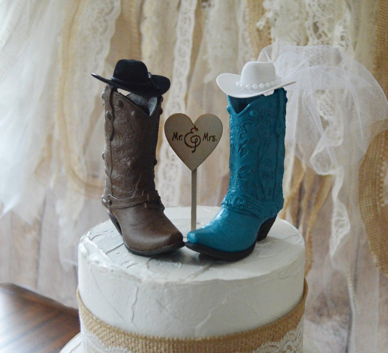 cowgirl cowboy boot wedding cake topper western weddings bride