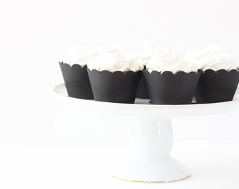 Black Cupcake Wrappers Cupcake Liners Black Party Supplies Black and White Party Wedding Cupcake Wrappers Halloween Decor New Years Party