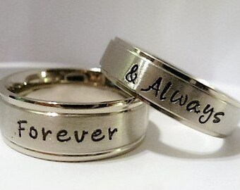 Personalized Name Ring, Personalized Couple's Rings, Stainless Steel Name Rings, Personalized Wedding Bands, promise rings, Couples rings