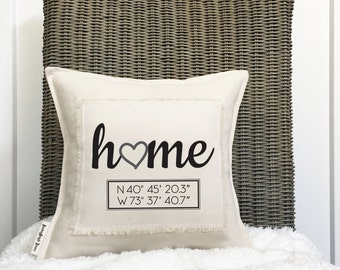 "12"" Your Coordinates Pillow - Latitude Longitude - GPS Pillow - Housewarming Gift - New Home Gift - Button Back Closure - Insert Included"