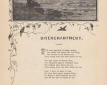 Death Beneath The Stars-Disenchantment-1883 Antique Vintage Art Print-Gothic Picture-Engraving-Poem-Poetry-Victorian-Sea-Lost Charm-Autumn