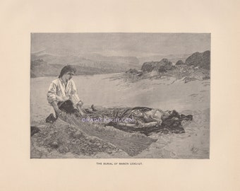 Burial Of Lover-Grave-1891 Antique Vintage TYPOGRAVURE Art PRINT-Death-Grave Digger-Prevost's Manon Lescaut-Loss Of Loved One-Mourning-Sad