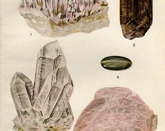Vintage Antique Print 1911 MINERALS Crystals Prisms Gems Chart 11 precious minerals gem stones illustrations