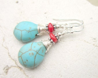 Wire Wrapped Red Coral and Turquoise Earrings. Turquoise Howlite Dangle Earrings. Red and Turquoise Drop Earrings. Turquoise Jewelry