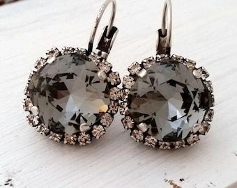 Gray drop earrings,Smokey Gray earrings,Swarovski crystal drop earrings,Bridesmaid gifts,Dangle earrings,Oxidized Silver earrings,Crystal