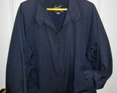 Vintage 1960s Men's Navy Blue Mechanics Coat Work Jacket by English Squire Size 50 Only 18 USD