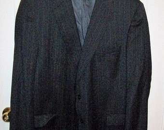Vintage Men's Black Wool Pin Striped Sport Coat Blazer by Jos A Bank Size 48 L Only 14 USD