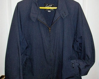 Vintage 1960s Men's Navy Blue Mechanics Coat Work Jacket by English Squire Size 50 Only 20 USD