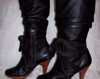 Vintage Ladies Black Leather Knee High Boots by Kenze size 7 1/2 Only 9 USD