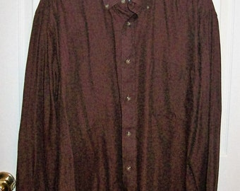 99 CENT SAlE Vintage Men's Brown Button Front Shirt by Jantzen Extra Large Now .99 USD