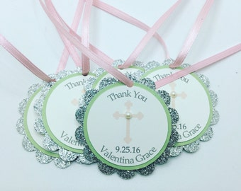 Light Pink, Mint, and Silver Sparkle Christening, Confirmation, Baptism, Communion Thank You Favor Tags, Pink Cross Tags, Communion, Bautizo