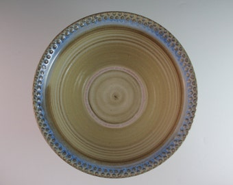 Pottery Bowl - Blue and yellow bowl - Serving bowl - Large Stoneware Bowl