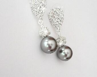 Gray pearl drop earrings - Swarovski pearls and crystal ~ Elegant ~ Bridal Jewelry - Wedding earrings ~ Bridesmaids earrings - Prom ~ GIFT